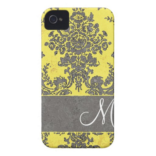Vintage Damask Pattern with Monogram iPhone 4 Cases