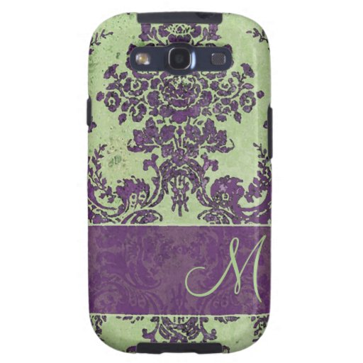 Vintage Damask Pattern with Monogram Galaxy SIII Cases