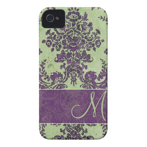 Vintage Damask Pattern with Monogram iPhone 4 Covers