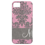 Vintage Damask Pattern with Monogram iPhone 5 Cases