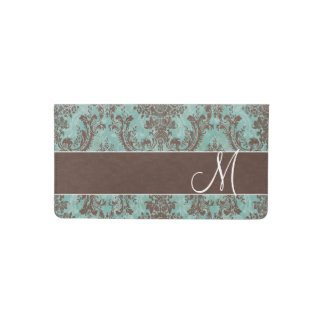 Vintage Damask Pattern with Monogram Checkbook Cover