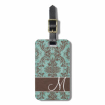 Vintage Damask Pattern with Monogram Luggage Tag