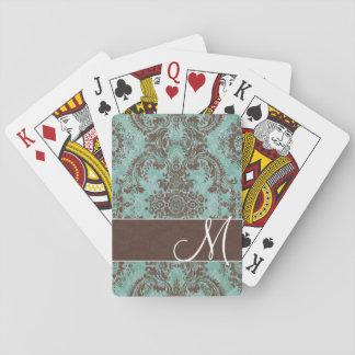 Vintage Damask Pattern with Monogram Playing Cards
