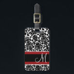 """Vintage Damask Pattern with Monogram Red Black Luggage Tag<br><div class=""""desc"""">An elegant way to travel - with black and white damasks. Add your name or monogram on the front.</div>"""