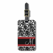 Vintage Damask Pattern with Monogram Red Black Luggage Tag