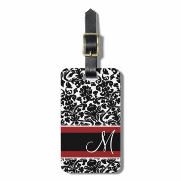 MarshEnterprises Vintage Damask Pattern with Monogram Red Black Luggage Tag