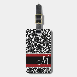 Vintage Damask Pattern with Monogram Red Black Luggage Tags