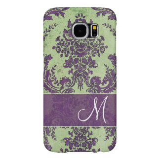 Vintage Damask Pattern with Monogram Samsung Galaxy S6 Case