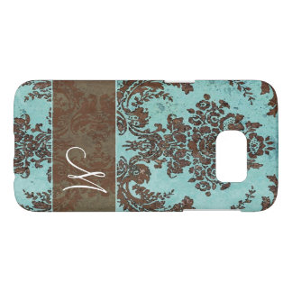 Vintage Damask Pattern with Monogram Samsung Galaxy S7 Case