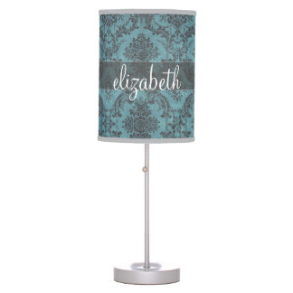 Vintage Damask Pattern with Monogram Table Lamp