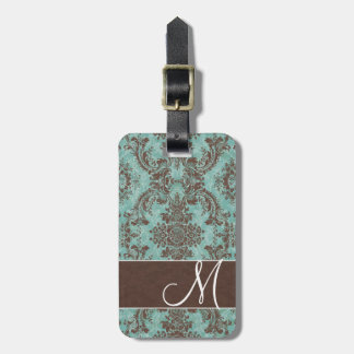 Vintage Damask Pattern with Monogram Tag For Luggage