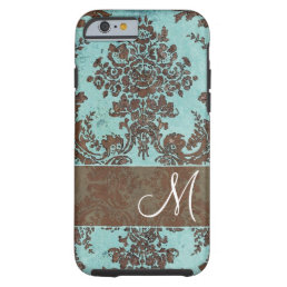 Vintage Damask Pattern with Monogram Tough iPhone 6 Case