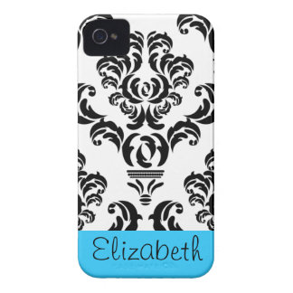 Vintage Damask Pattern with Name - Black and White iPhone 4 Cover