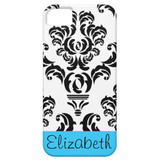 Vintage Damask Pattern with Name - Black and White iPhone SE/5/5s Case