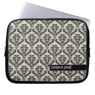 Vintage Damask Pattern with Name Laptop Computer Sleeve
