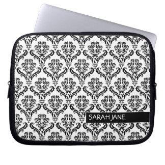 Vintage Damask Pattern with Name Laptop Sleeves