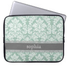 Vintage Damask Pattern with Name - mint and gray Laptop Sleeve