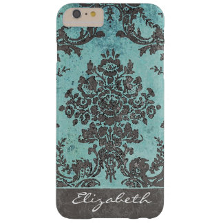 Vintage Damask Pattern with Name - teal Barely There iPhone 6 Plus Case