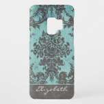 "Vintage Damask Pattern with Name - teal gray Case-Mate Samsung Galaxy S9 Case<br><div class=""desc"">A vintage design with a modern twist.</div>"
