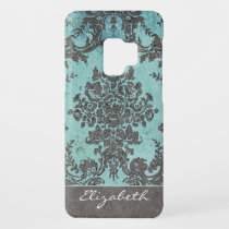 Vintage Damask Pattern with Name - teal gray Case-Mate Samsung Galaxy S9 Case