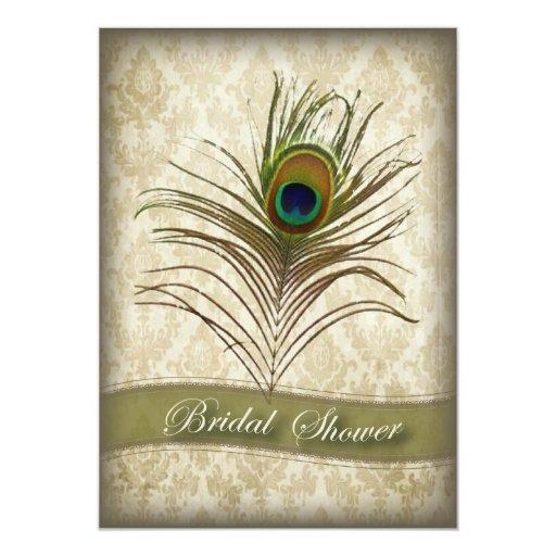 Vintage  damask peacock bridal shower invitation
