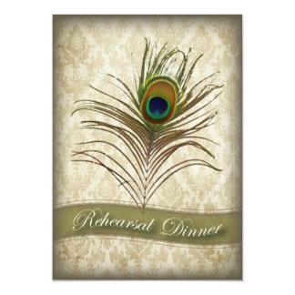 Vintage damask peacock Rehearsal Dinner invite