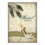 vintage damask peacock wedding bridal shower card