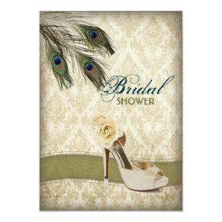 vintage damask peacock wedding bridal shower custom invitations
