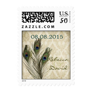 vintage damask peacock wedding save the date postage