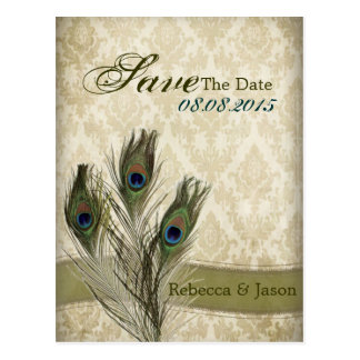 vintage damask peacock wedding save the date postcard