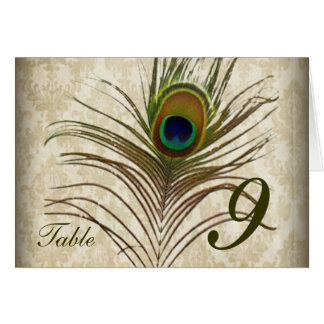 Vintage damask peacock wedding table number card