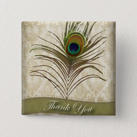 Vintage damask peacock wedding thank you pinback button