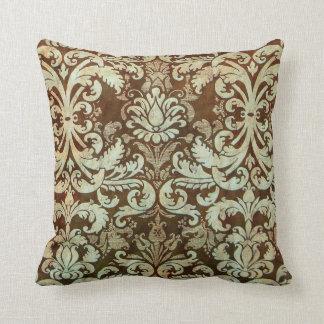 Vintage Damask Pillow Elegant Green Brown