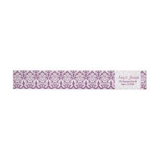 Vintage Damask Purple White Return Address Wrap Around Label