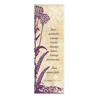 Vintage Damask Purple Wild Flower Wedding Tags Business Cards