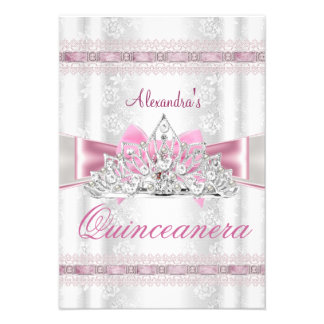 Vintage Damask Quinceanera 15th Birthday Party Announcements