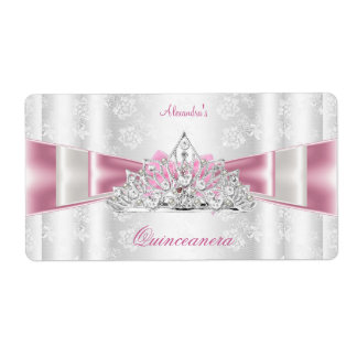 Vintage Damask Quinceanera 15th Birthday Party Label