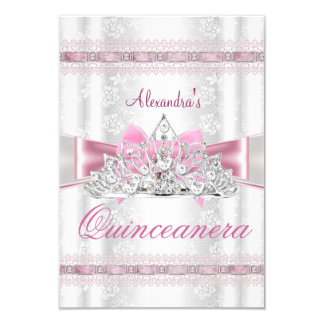 Vintage Damask Quinceanera 15th Birthday Party sml 3.5x5 Paper Invitation Card