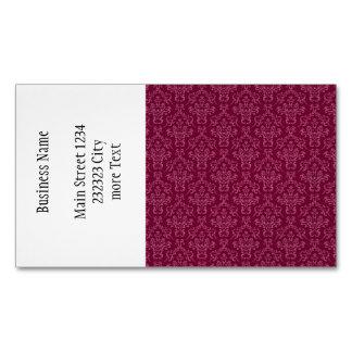 vintage Damask, red Business Card Magnet