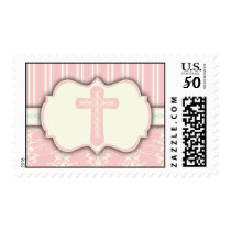 Vintage Damask Religious Cross Sticker | Pink Postage