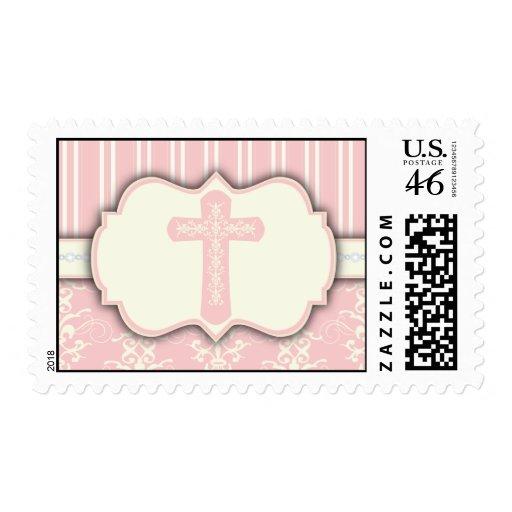 Vintage Damask Religious Cross Sticker   Pink Postage Stamp