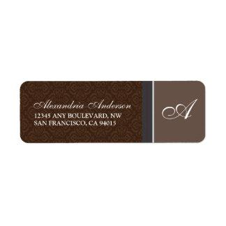 Vintage Damask Return Address Label (brown)