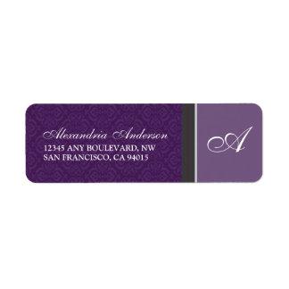 Vintage Damask Return Address Label (purple)