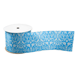 Vintage Damask Ribbon BRIGHT BLUE and WHITE A06. Blank Ribbon