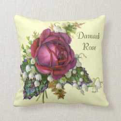 Vintage Damask Rose and Snowdrops Throw Pillow