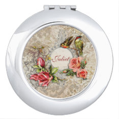 Vintage Damask Rose Personalized Compact Mirror at Zazzle