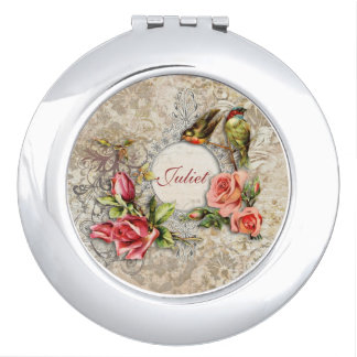 Vintage Damask Rose Personalized Compact Mirror