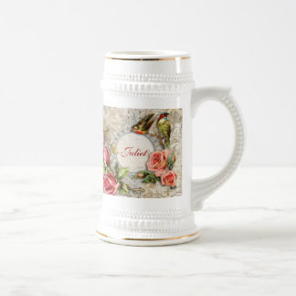 Vintage Damask Rose Stein Mug