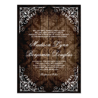 "Vintage Damask Rustic Country Wedding Invitations 4.5"" X 6.25"" Invitation Card"