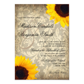 Vintage Damask Rustic Sunflower Wedding Invitation